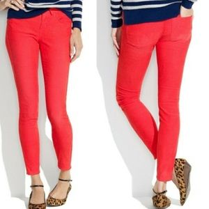 Madewell Red Skinny Ankle Corduroy Pants Size 26